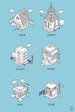 Reeks Isometrische Gebouwen Zwart-witte vectorillustratie stock illustratie