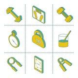 Reeks isometrische gymnastiekpictogrammen Royalty-vrije Stock Foto's