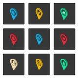 Reeks isometrische kaartpictogrammen Stock Afbeeldingen