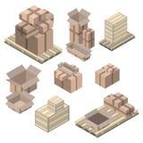 Reeks isometrische kartondozen op wit Stock Afbeelding