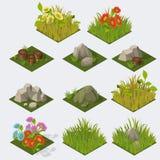 Reeks Isometrische landschapstegels Stock Foto's
