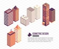 Reeks isometrische lange gebouwen voor de stadsbouw royalty-vrije illustratie