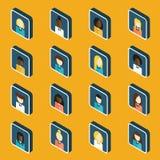 Reeks isometrische mensenpictogrammen Stock Foto