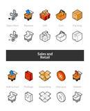 Reeks isometrische pictogrammen in otlinestijl, gekleurde en zwarte versies Royalty-vrije Stock Foto