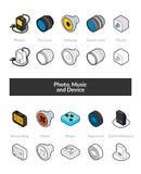 Reeks isometrische pictogrammen in otlinestijl, gekleurde en zwarte versies Stock Afbeeldingen