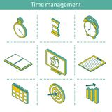 Reeks isometrische pictogrammen van het tijdbeheer Stock Afbeeldingen