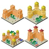 Reeks isometrische toeristische attracties met vestingsmuur, torens, gebouwen en mensen stock illustratie
