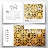 Reeks jaarverslag bedrijfsmalplaatjes voor brochure, tijdschrift, vlieger of boekje Eid Al Fitr Background Islamitisch goud Stock Foto