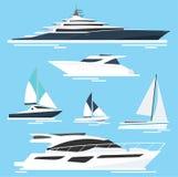 Reeks jachten en boten Overzeese reis Vector illustratie stock illustratie