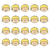 Reeks jong geitje gezichtsemoties Blond jongensgezicht met verschillende uitdrukkingen Stock Foto's
