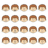 Reeks jong geitje gezichtsemoties Het donkere gezicht van de haarjongen met verschillende uitdrukkingen Stock Afbeelding