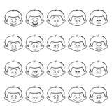 Reeks jong geitje gezichtsemoties Het gezicht van de overzichtsjongen met verschillende uitdrukkingen Stock Afbeelding