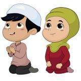 Reeks jong geitje moslimmensen die activiteiten doen vector illustratie