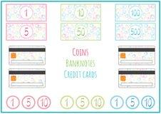 Reeks jonge geitjes vectorbankbiljetten, muntstukken, creditcard voor spelen Kinderachtig ontwerp met kers, bal Geïsoleerd op wit royalty-vrije illustratie