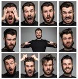 Reeks jonge man portretten met verschillend Stock Foto