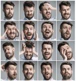 Reeks jonge man portretten met verschillende emoties stock foto