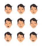 Reeks jonge mensen` s gezichten met diverse emoties Emoji, emoticon inzameling Vlakke vectorillustratie Geïsoleerd op wit stock illustratie
