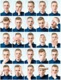 Reeks jonge mensen` s portretten met verschillend emoties en gebaar stock fotografie