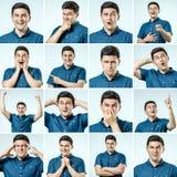 Reeks jonge mensen` s portretten met verschillend emoties en gebaar Royalty-vrije Stock Foto