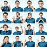 Reeks jonge mensen` s portretten met verschillend emoties en gebaar Royalty-vrije Stock Foto's