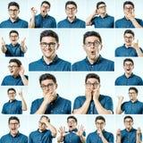Reeks jonge mensen` s portretten met verschillend emoties en gebaar Stock Foto's