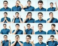 Reeks jonge mensen` s portretten met verschillend emoties en gebaar stock afbeeldingen