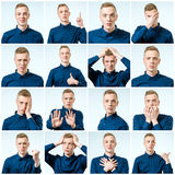 Reeks jonge mensen` s portretten met verschillend emoties en gebaar royalty-vrije stock afbeeldingen