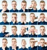 Reeks jonge mensen` s portretten met verschillend emoties en gebaar stock afbeelding
