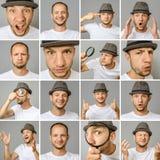 Reeks jonge mensen` s portretten met verschillende emoties en gebaren royalty-vrije stock afbeeldingen