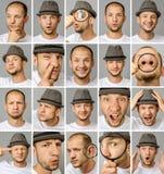 Reeks jonge mensen` s portretten met verschillende emoties en gebaren stock afbeelding