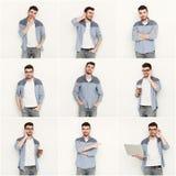 Reeks jonge mensen verschillende emoties bij witte studioachtergrond Stock Foto's
