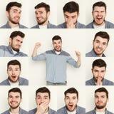 Reeks jonge mensen verschillende emoties bij witte studioachtergrond Royalty-vrije Stock Afbeeldingen