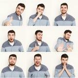 Reeks jonge mensen verschillende emoties bij witte studioachtergrond Royalty-vrije Stock Fotografie