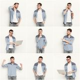 Reeks jonge mensen verschillende emoties bij witte studioachtergrond Stock Afbeelding