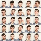 Reeks jonge mensen verschillende emoties bij witte studioachtergrond Stock Foto