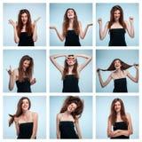Reeks jonge vrouwen` s portretten met verschillende gelukkige emoties royalty-vrije stock afbeelding