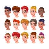 Reeks jongens met verschillende kapsels en toebehoren Royalty-vrije Stock Foto's