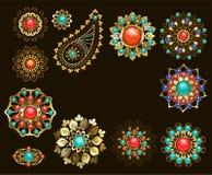 Reeks juwelen etnische broches Royalty-vrije Stock Foto