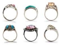 Reeks juwelenringen Royalty-vrije Stock Afbeeldingen