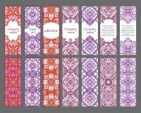 Reeks kaarten of banners met oosterse symmetrische ornamenten Stock Foto