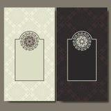 Reeks kaarten Het overladen ontwerp kan gebruikt voor uitnodiging, groet of adreskaartje Malplaatje voor uw ontwerp Mandalavector Royalty-vrije Stock Afbeeldingen