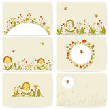 Reeks kaarten met bloemen Royalty-vrije Stock Foto