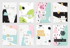 Reeks kaarten met inspirational citaten stock illustratie