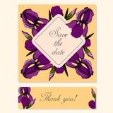 Reeks Kaarten met Iris Floral Motifs Stock Fotografie