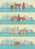 Reeks kaarten met oriëntatiepunten van Tokyo, Peking, Seoel en Bangkok reis concept Royalty-vrije Stock Foto's