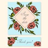 Reeks Kaarten met Poppy Floral Motifs Royalty-vrije Stock Afbeelding