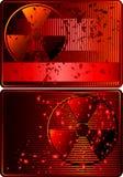 Reeks kaarten met radioactief teken vector illustratie