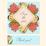 Reeks Kaarten met Tulip Floral Motifs Royalty-vrije Stock Fotografie