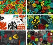 Reeks kaarten met vogels, dieren en bloemen Stock Fotografie
