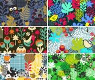 Reeks kaarten met vogels en bloemen. royalty-vrije illustratie